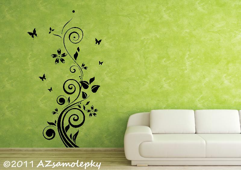 ROSTLINY - samolepky na zeď - Samolepky na zeď - Pnoucí květina Ring s motýlky