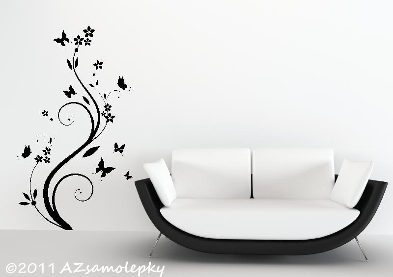 ROSTLINY - samolepky na zeď - Samolepky na zeď - Pnoucí květina s motýlky