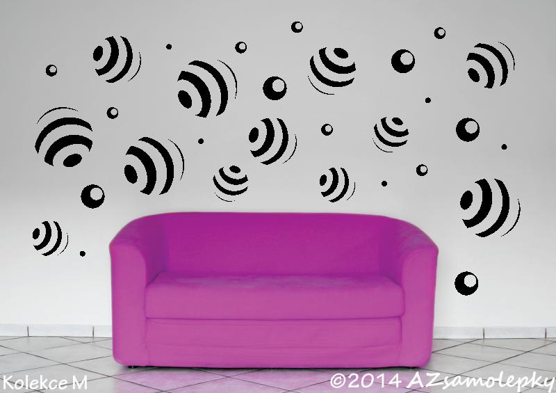 MODERNÍ samolepky na zeď - Samolepky na zeď - Pruhované bubliny