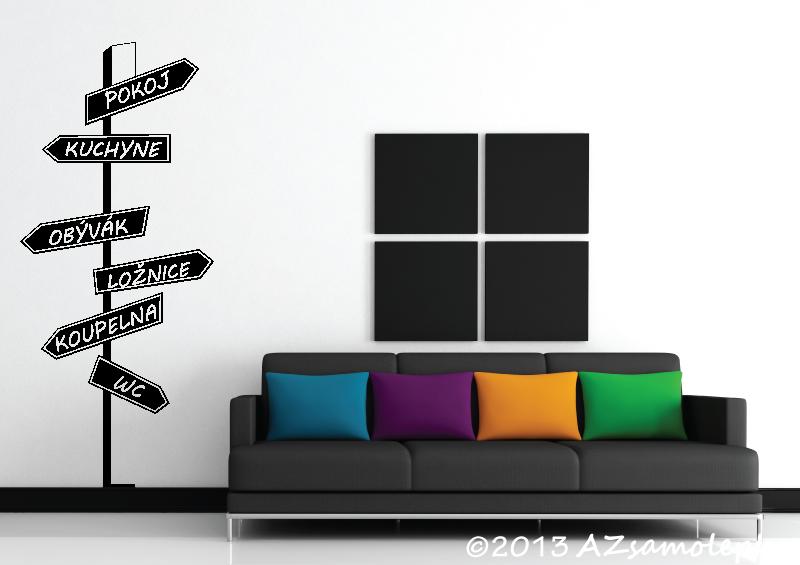 MODERNÍ samolepky na zeď - Samolepky na zeď - Rozcestník - místnosti
