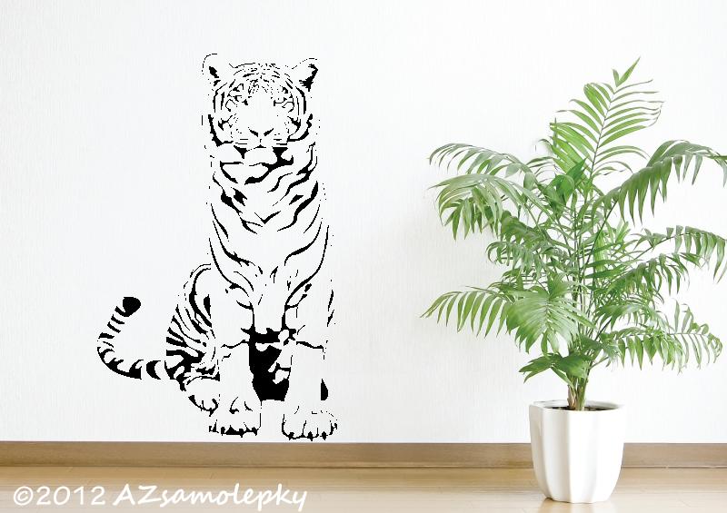 ZVÍŘATA - samolepky na zeď - Samolepky na zeď - Sedící tygr