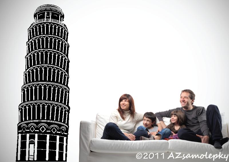 MĚSTA a MONUMENTY, MAPY - Samolepky na zeď - Šikmá věž Pisa