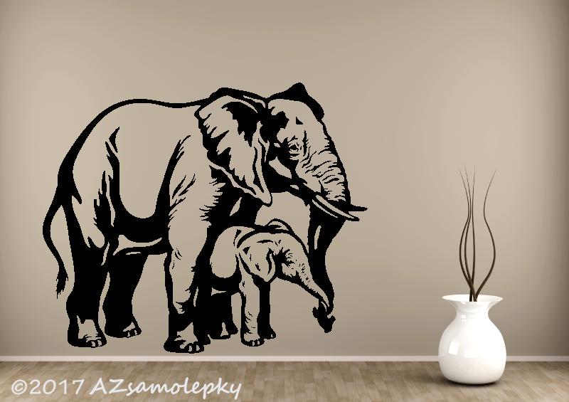 ZVÍŘATA - samolepky na zeď - Samolepky na zeď - Slon s mládětem