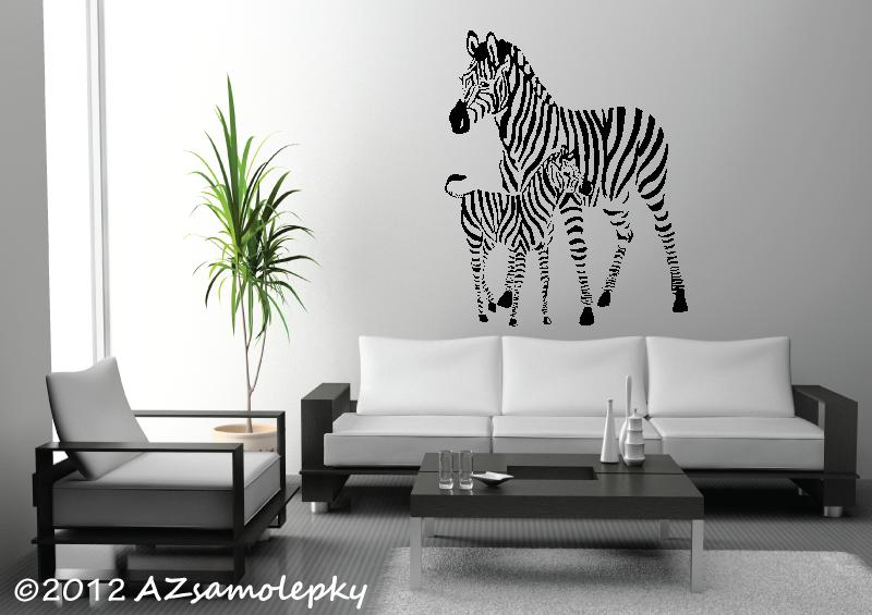 ZVÍŘATA - samolepky na zeď - Samolepky na zeď - Zebra s mládětem