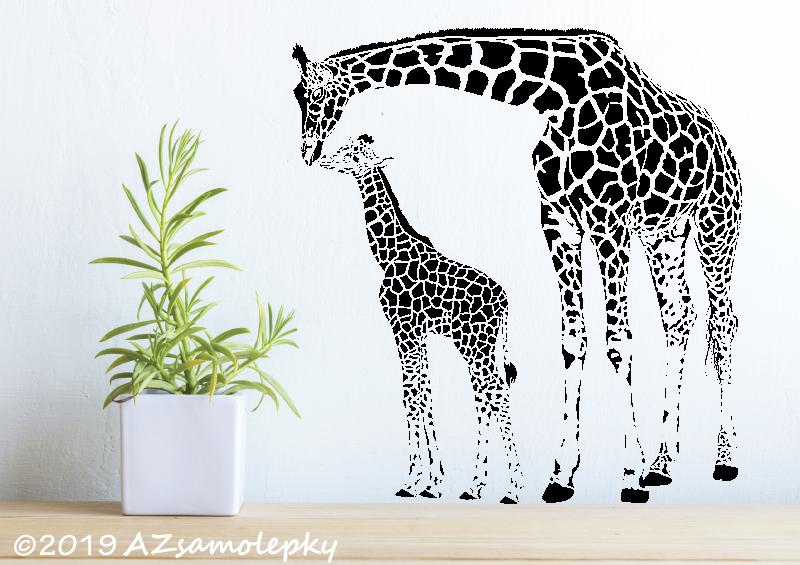 ZVÍŘATA - samolepky na zeď - Samolepky na zeď - Žirafa s mládětem