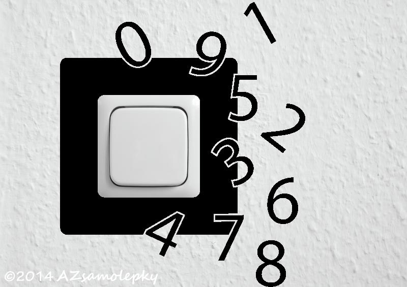 Samolepky pod VYPÍNAČ - Samolepky pod vypínač - Čísla