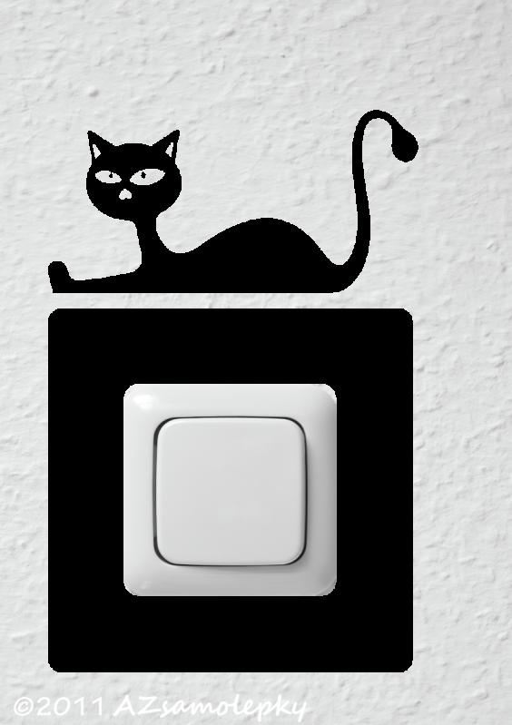 Samolepky pod VYPÍNAČ - Samolepky pod vypínač - Kočka v akci I