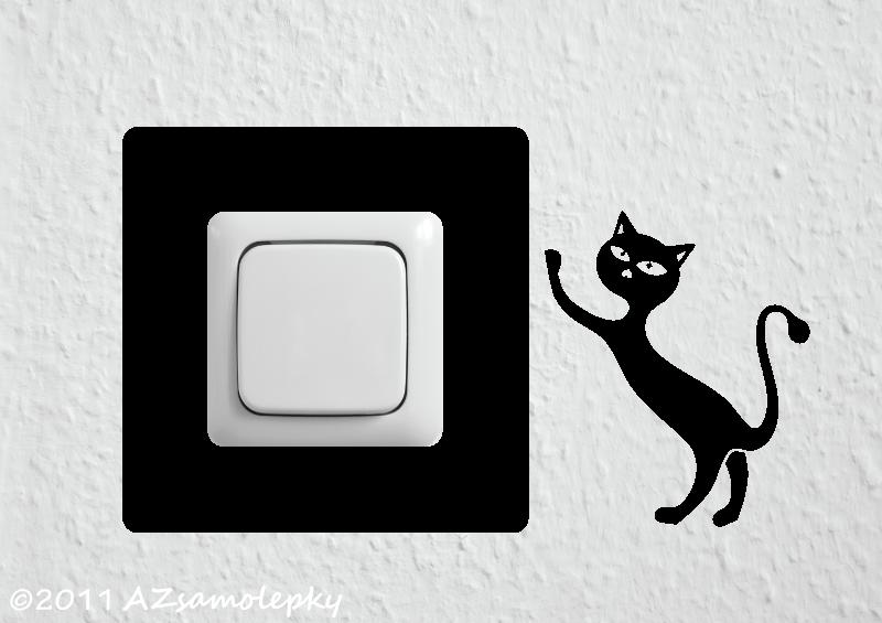 Samolepky pod VYPÍNAČ - Samolepky pod vypínač - Kočka v akci II