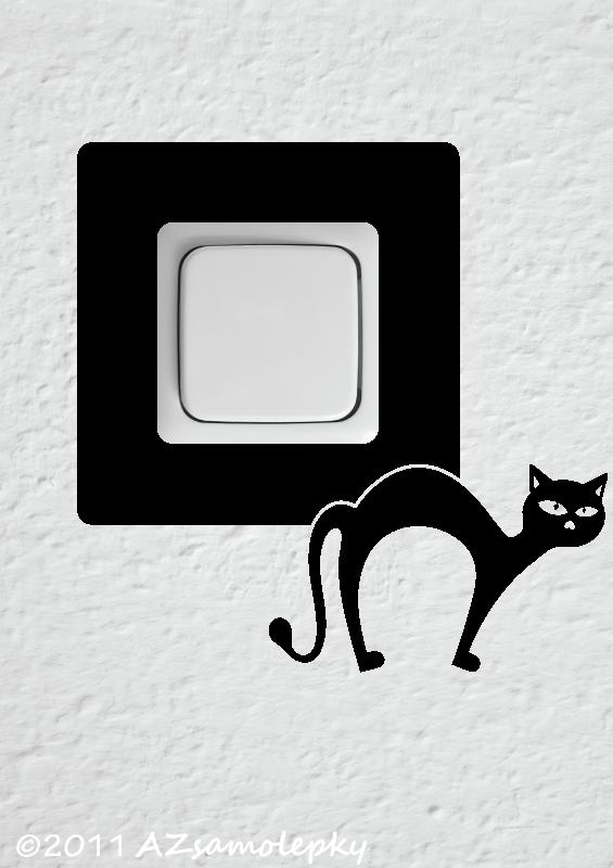 Samolepky pod VYPÍNAČ - Samolepky pod vypínač - Kočka v akci III