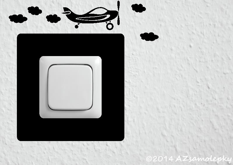Samolepky pod VYPÍNAČ - Samolepky pod vypínač - Letadlo