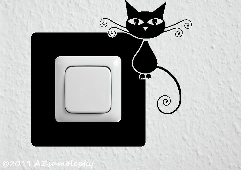 Samolepky pod VYPÍNAČ - Samolepky pod vypínač - Moderní kočka I
