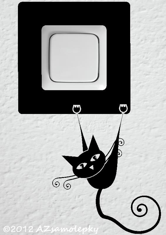 Samolepky pod VYPÍNAČ - Samolepky pod vypínač - Moderní kočka II