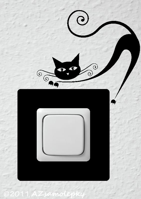 Samolepky pod VYPÍNAČ - Samolepky pod vypínač - Moderní kočka III