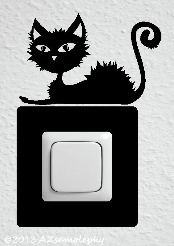 Samolepky pod VYPÍNAČ - Samolepky pod vypínač - Nezbedná kočka II