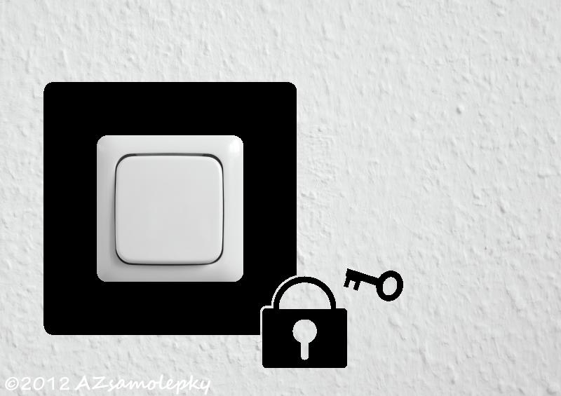 Samolepky pod VYPÍNAČ - Samolepky pod vypínač - Zámek s klíčem