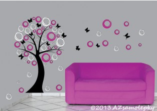 Samolepky na zeď - DUO strom - moderní bublinky