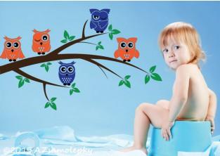 Dětské samolepky na zeď - Sovy na větvi