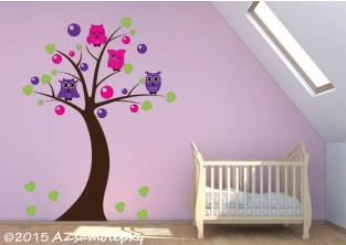 Dětské samolepky na zeď - Soví strom s bublinkami