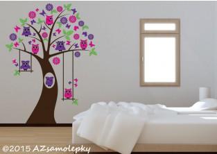 Dětské samolepky na zeď - Soví strom s houpačkou