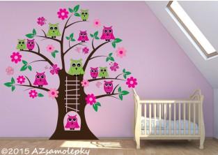 Dětské samolepky na zeď - Soví strom - L