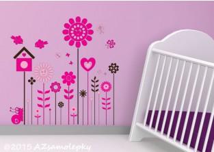 Dětské samolepky na zeď - Květinová louka - L
