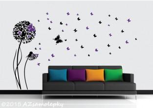 Samolepky na zeď - Motýlková DUO pampeliška