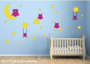 Dětské samolepky na zeď - Noční obloha se sovami