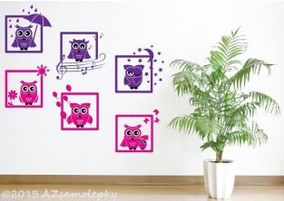 Dětské samolepky na zeď - Veselé obrázky - Sovy