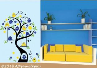Dětské samolepky na zeď - Ptačí strom - L