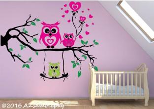 Dětské samolepky na zeď - Soví větev se srdíčky