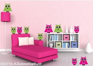 Dětské samolepky na zeď - Roztomilé sovy - L