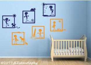 Dětské samolepky na zeď - Veselé obrázky - Nezbedové