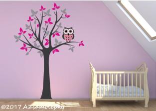 Dětské samolepky na zeď-Strom UNO se sovou