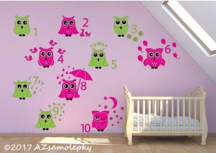 Dětské samolepky na zeď-Soví počítání