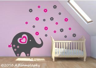 Dětské samolepky na zeď - Květinový sloník