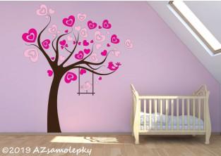 Dětské samolepky na zeď - Srdíčkový strom