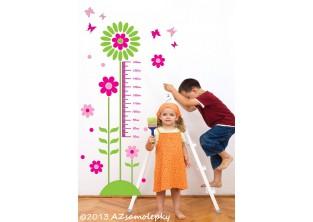 Samolepky na zeď - Dětský metr - Kytičky