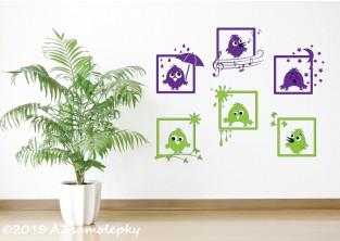 Dětské samolepky na zeď - Veselé obrázky - Ptáčci
