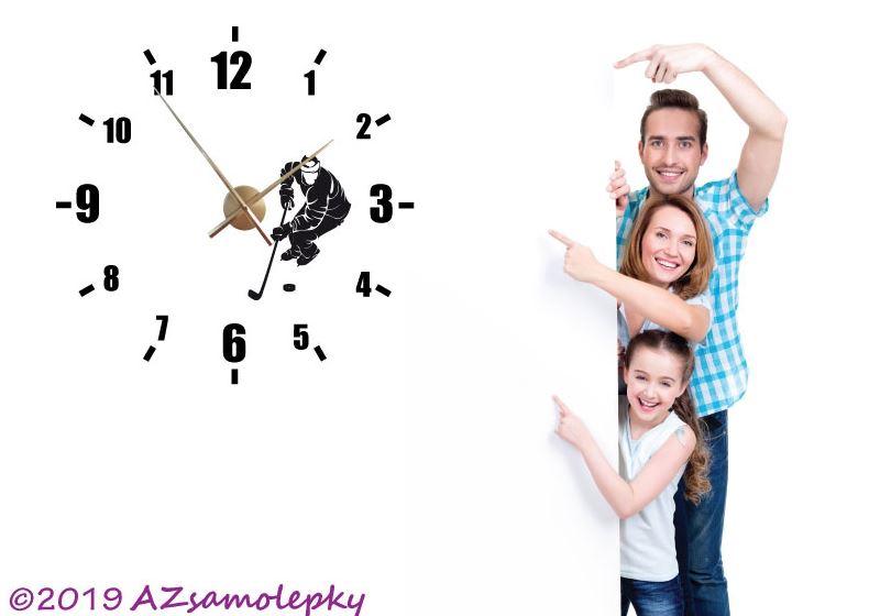 Samolepicí hodiny na zeď - Hokejista