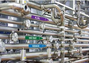 Vizuální management - šipka na potrubí s textem pravá