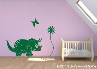 Dětské samolepky na zeď - Veselý triceratops