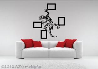 Samolepky na zeď - Ozdobná ještěrka + 4 fotorámečky