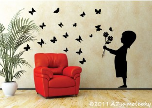 Samolepky na zeď - Kluk s květinou a motýlky