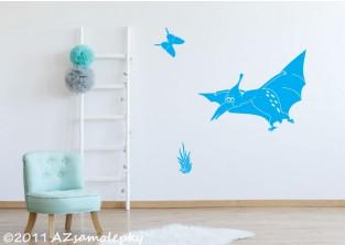 Dětské samolepky na zeď - Veselý pteranodon