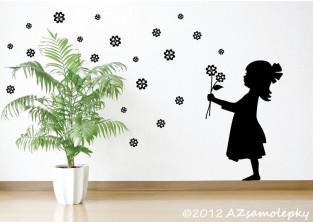 Samolepky na zeď - Čtyřlístková holčička