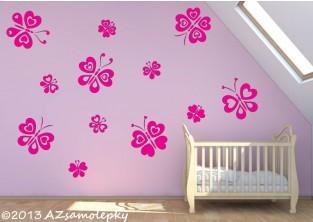 Dětské samolepky na zeď - Srdíčkoví motýlci