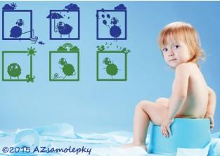 Dětské samolepky na zeď - Veselé obrázky - Ovečky