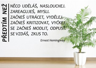 Samolepky na zeď - Citát - Ernest Hemingway