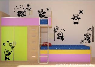Dětské samolepky na zeď - Hravé pandy